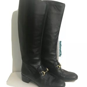 Gucci black leather 8 pull on Lillian riding boots
